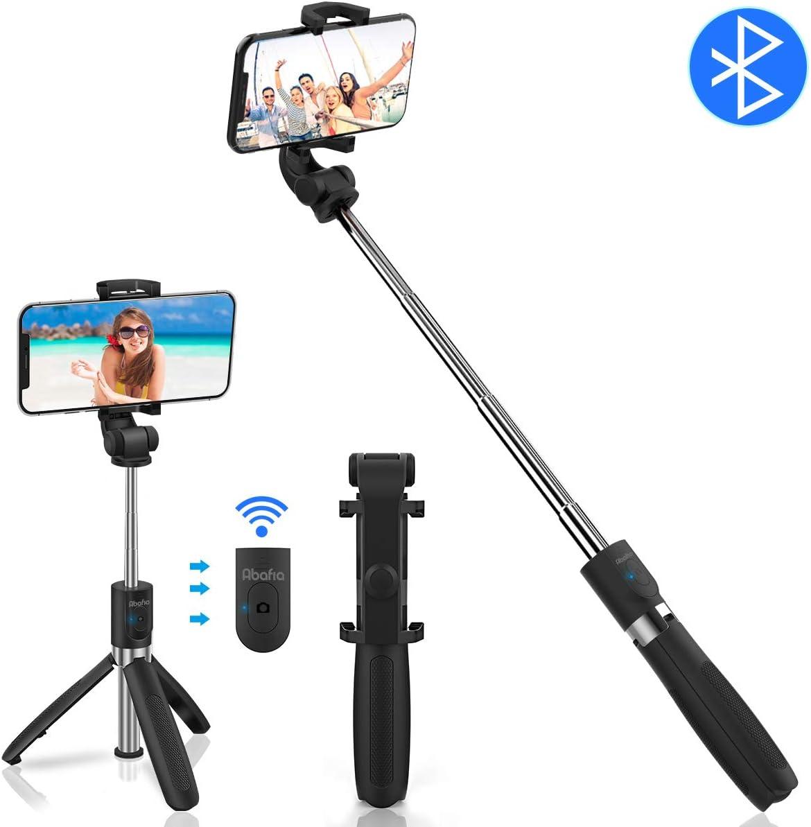 """Abafia Bluetooth Palo Selfie, Selfie Stick Extensible Palo Selfie Trípode con Control Remoto 3 en 1 Monopie con Obturador Rotación de 360 Grados para iPhone/Samsung Galaxy/Huawei/Xiaomi (3.5""""- 6.0"""")"""