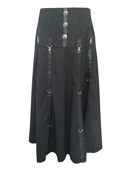 aa6bd1a76371 Black Steampunk Gothic Pinstripe Gangster Punk Pirate Long Cyberpunk  Contemporary Skirt (Medium)  Amazon.co.uk  Clothing