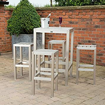 Metal Outdoor Bar Set   Garden Square Bar Table and 4 Stools   Brushed  Aluminium andMetal Outdoor Bar Set   Garden Square Bar Table and 4 Stools  . Outdoor Bar Stools And Tables Uk. Home Design Ideas