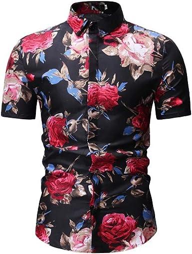Raylans Mens Hawaiian Shirt Short Sleeve Pineapple Beach Tropical Shirt