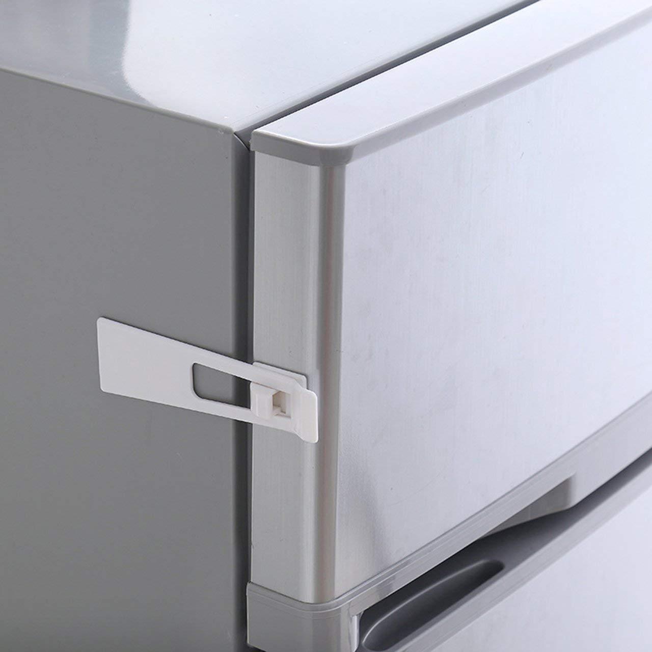 Beb/é Ni/ño Seguridad Proteger Cerraduras Refrigerador Guard Armario Refrigerador Caj/ón de la puerta Hogar Interior Pestillo de seguridad F/ácil de instalar ESjasnyfall Blanco