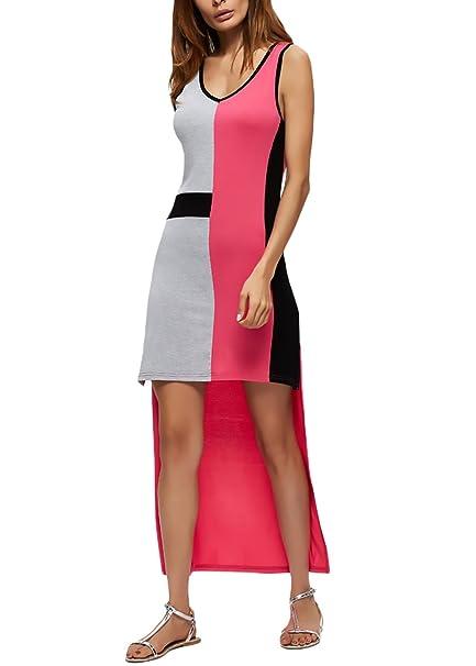 Vestidos Mujer Verano Moda Patchwork Irregular Asimetricos Vestidos Altos Bajos Sin Sencillos Especial Mangas Cuello Redondo Slim Fit Elegantes Único ...