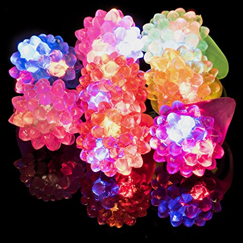 Flashing LED Light Up Toys - Bumpy Jelly Rings By Dragon Too - 12 Pack