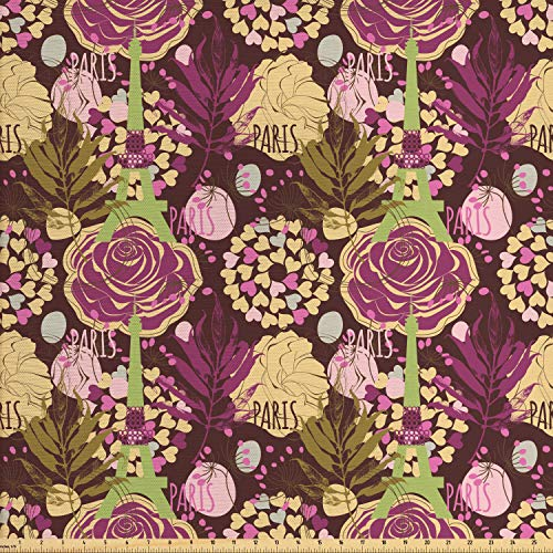 Ambesonne Modern Fabric by The Yard, Paris Landmark Eiffel Tower Leaves with Maroon Color Backdrop, Decorative Fabric for Upholstery and Home Accents, Purple Plum Pale Green and White ()