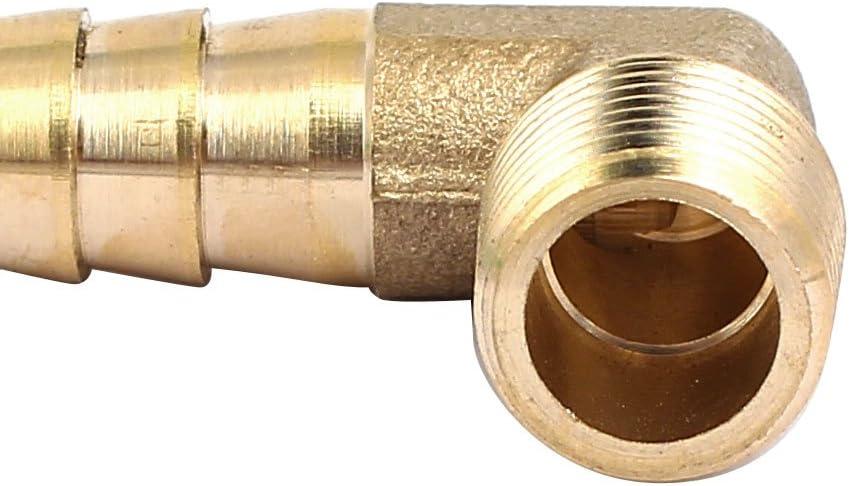 sourcing map 1//4BSP Filetage m/âle laiton 10mm raccord cannel/é coud/é angle droit Connect 2pcs