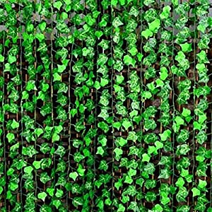 YOUR GIFT Artificial Ivy Green Leaves Vine Fake Ivy Wreaths Wedding Arch/Floral/Indoor Outdoor/Front Porch/Imitation of Green Plants 12 Strands 84 ft 4