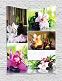 Ambesonne Home Decor Collection, Spa Day Collage with Orchids and Stone Pebbles Natural Herbal Oils Body and Mind Treatment Decor, Bedroom Living Room Dorm Wall Hanging Tapestry, 60 X 80 Inches, Multi