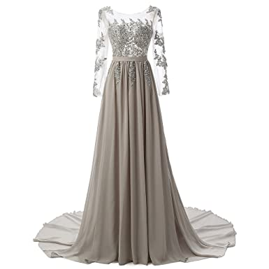 YSFS Womens Long Sleeve Prom Dress Chiffon Evening Dress Formal Gown: Amazon.co.uk: Clothing