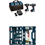 Bosch CLPK232-181 18V 2-Tool Combo Kit (Drill/Driver & Impact Driver) with (2) 2.0 Ah Batteries and 91-pc drill and drive bit set