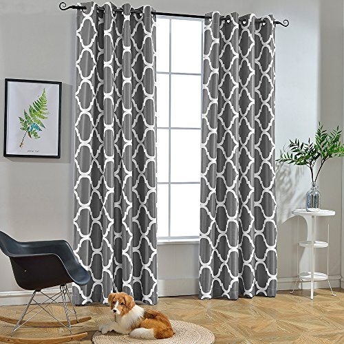 Melodieux Moroccan Fashion Room Darkening Blackout Grommet Top Curtains for Living Room, 52 by 84 Inch, Grey (1 Panel) (White With Curtains Grey)