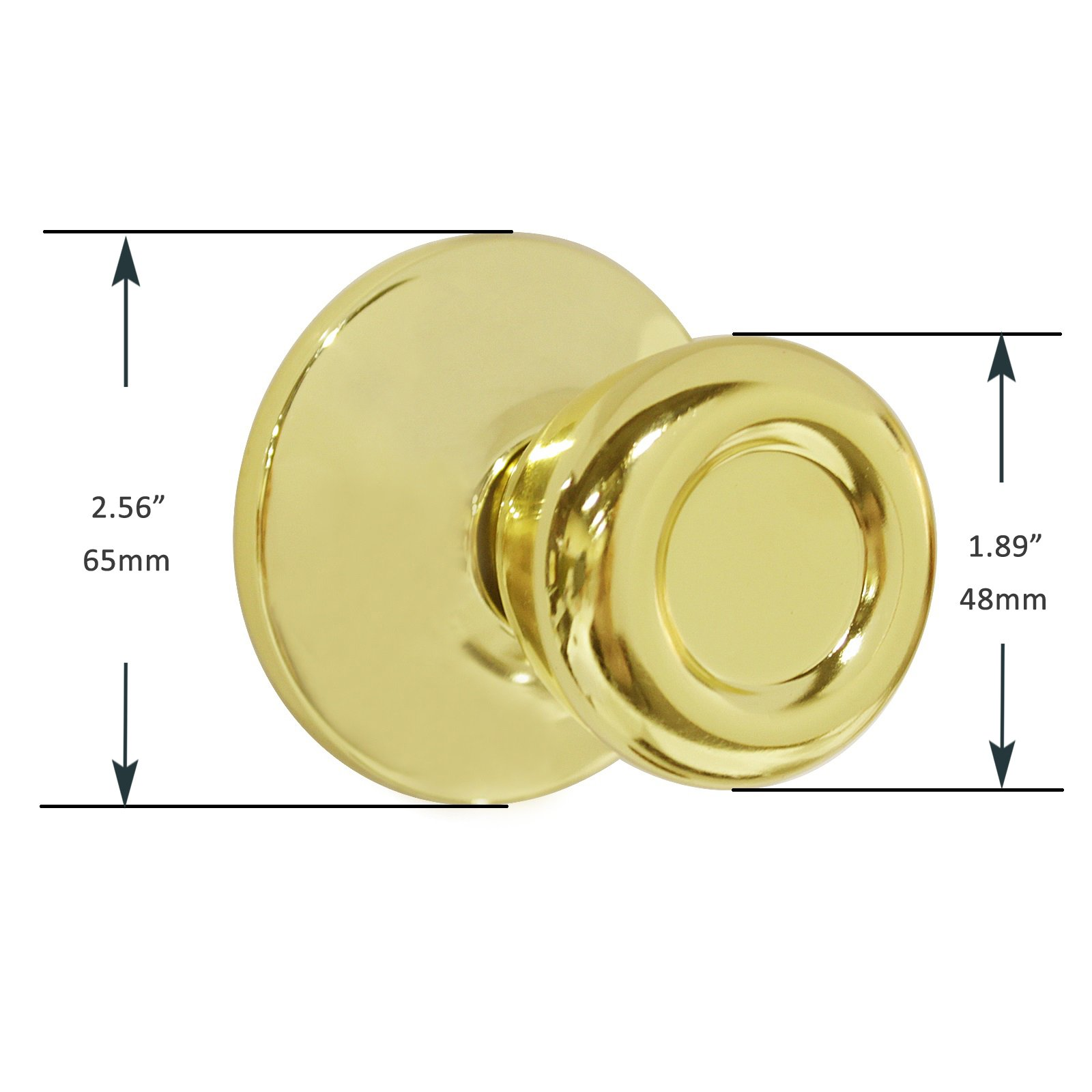 Dummy Interior Door Knob Set Tulip Shape Handles Decorative Inactive Trim Knob for Right or Left Handed Door , Polished Brass by home improvement direct (Image #3)