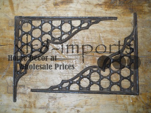 New 7 Cast Iron by YourLuckyDecor Antique Style LARGE RING Brackets, Garden Braces Shelf Bracket by New