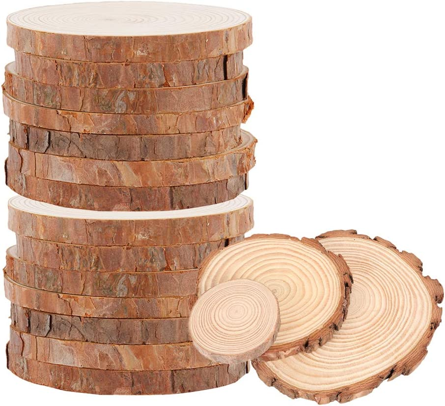 10Pcs 15-17cm Natural Wood Slices Smooth Rustic Wood Discs Unfinished Round Log Wood Circles for DIY Crafts Wedding Home Decorations Christmas Ornaments
