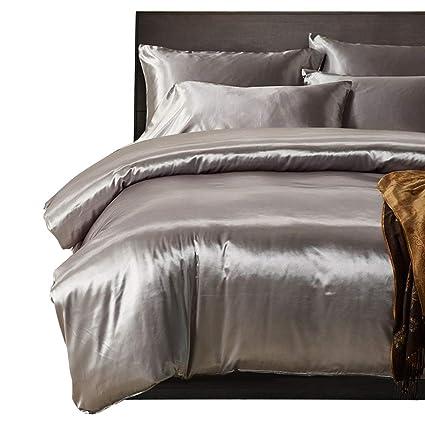 HOTNIU Full Satin Silk BedSheet Set   Silky Soft Luxury 3 Piece Bedspread  Coverlet Set