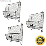 COLIBROX--Metal Wire 3Tiers Key Mail Basket Holder Wall Mount Bin Shelf Storage Rack Black. Contemporary metal entryway key and mail sorter rack with black powder-coat finish.