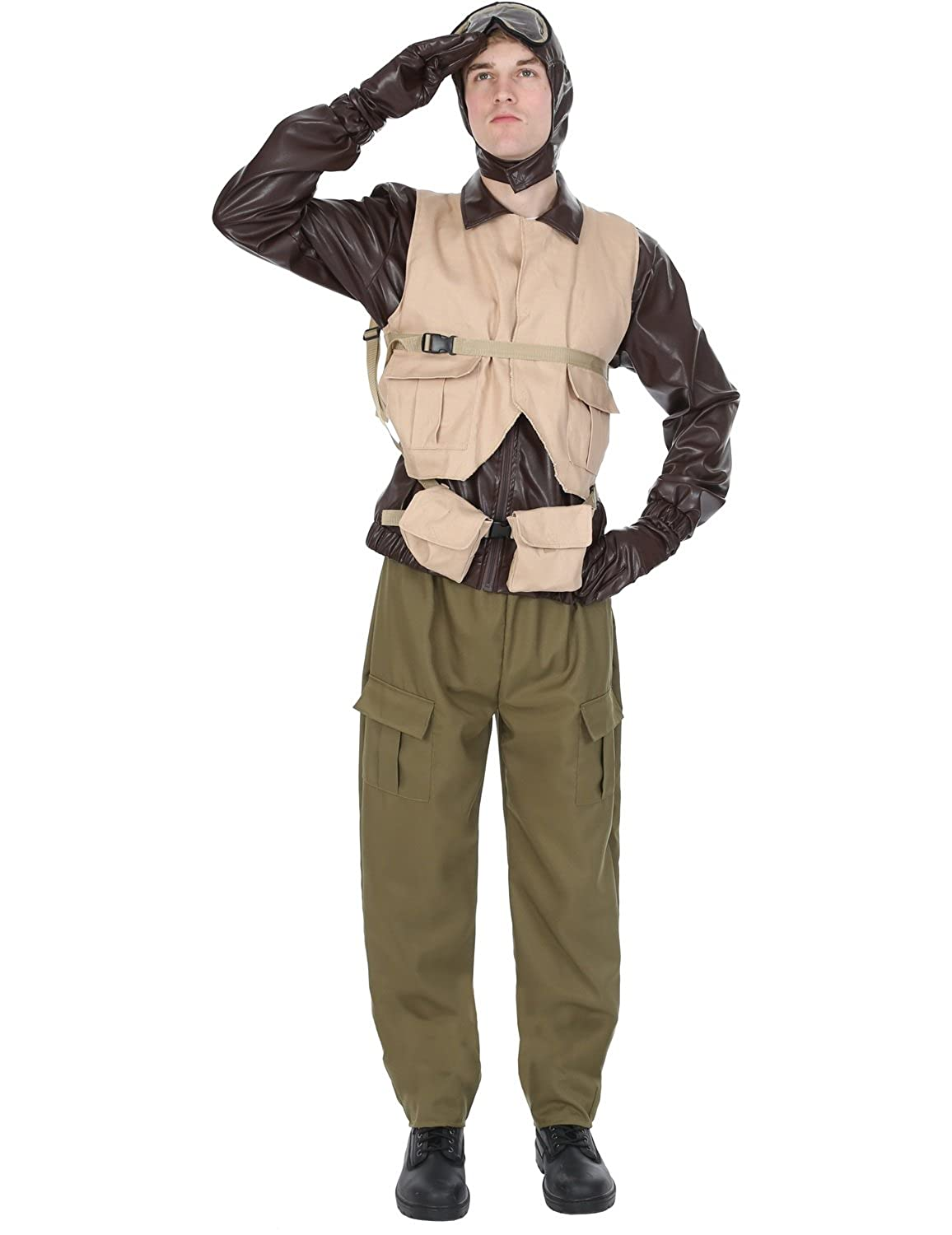 1940s Men's Costumes: WW2, Sailor, Zoot Suits, Gangsters, Detective Orion Costumes Mens World War II WW2 Fighter Pilot 1940s Aviator Fancy Dress Costume £26.11 AT vintagedancer.com