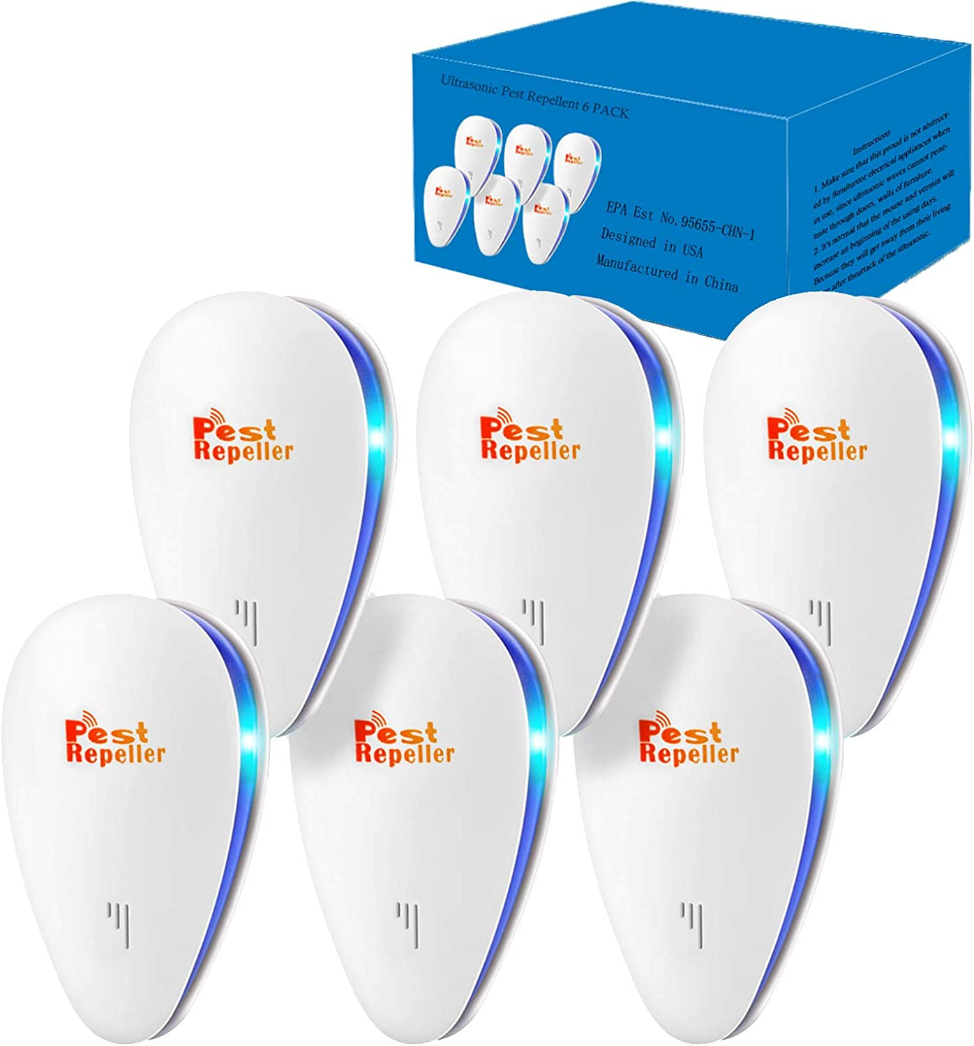 TopLAD Ultrasonic Pest Repellent 6 Pack, Electronic Pest Repeller Pest Control for Mosquito, Spider, Fly, Roach, Termite, Bug, Rodent Plug in Indoor