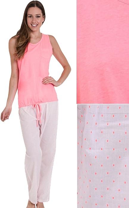 399c8130fe F4S® Womens 100% Cotton Vest Top and Full Length Leg Pyjamas Set ...