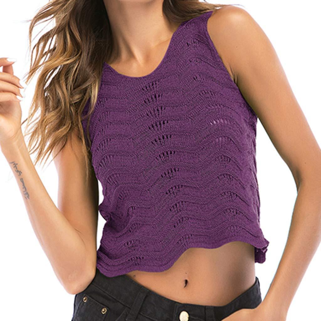 Women Top Hooked Openwork Wavy Side Sleeveless Knitting Tank Crewneck Vest Blouse Cami Purple