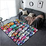 Vanfan Design Home Decorative 109741160 Colorful skulls from mexican tradition Modern Non-Slip Doormats Carpet for Living Dining Room Bedroom Hallway Office Easy Clean Footcloth
