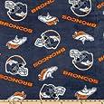 60'' Wide NFL Fleece Denver Broncos Blue/Orange Fabric By The Yard