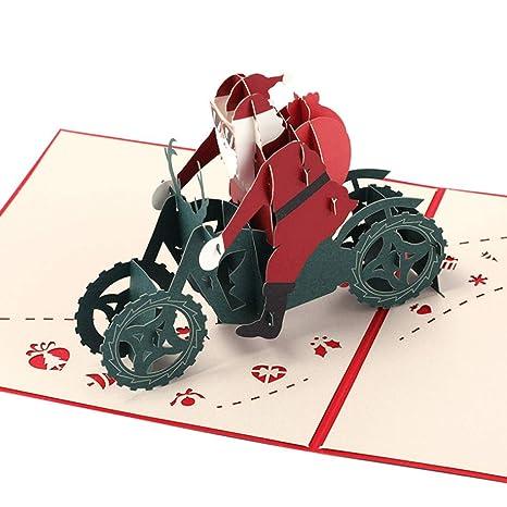Frohe Weihnachten Motorrad.Kofun Grusskarten Handgefertigt 3d Pop Up Motorrad Grusskarte