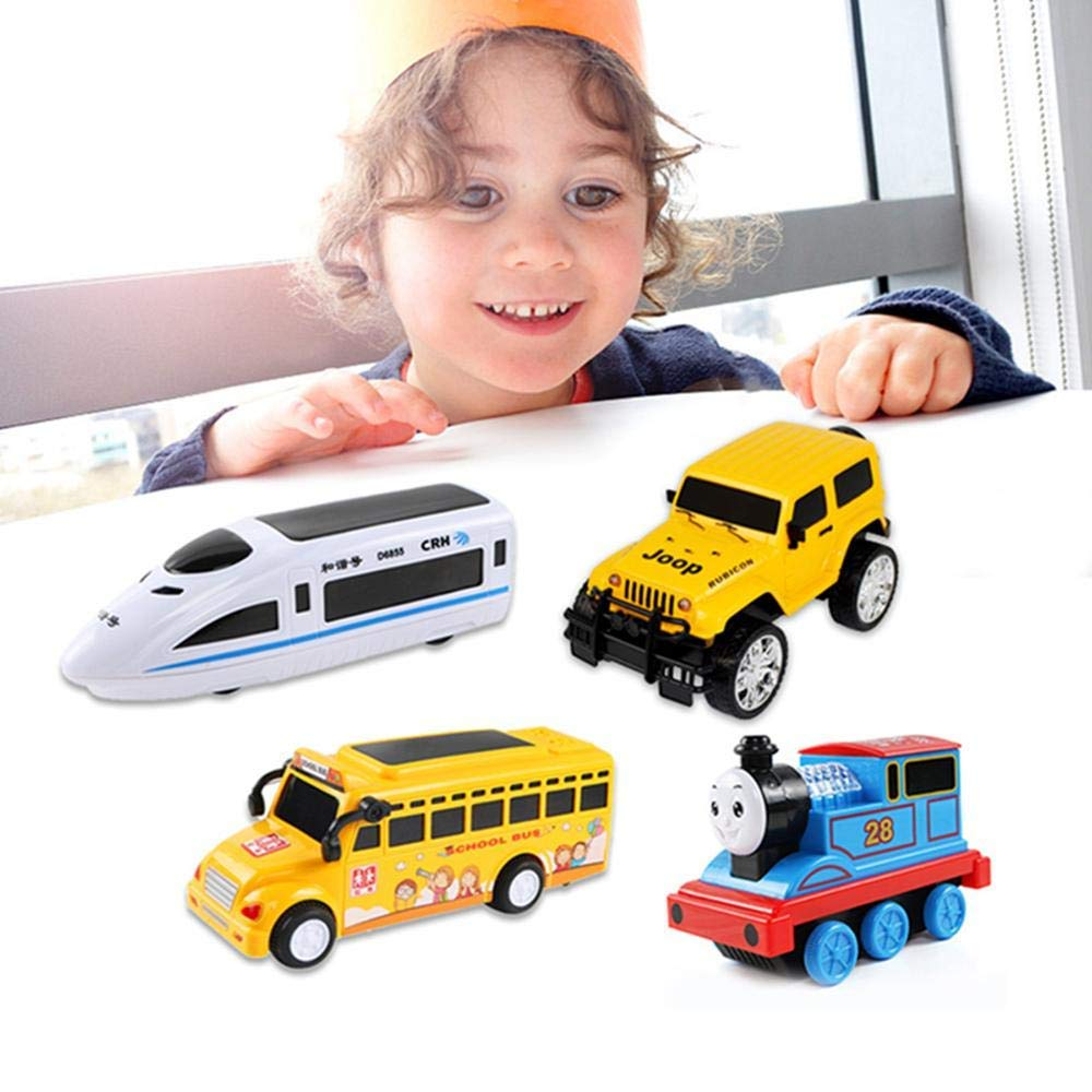 Train Mini High-Speed Rail with 3 Colors Lighting Musical Educational Toys Fun Friction Powered Construction Vechicles Pull Back Cars for Toddlers 2-5 Years GOUPPER Push N Go Cars for Toddlers