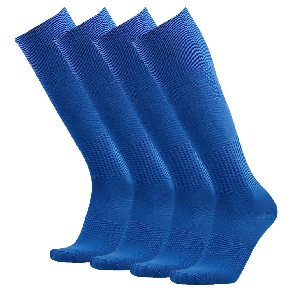 3street Soccer Socks, Unisex Solid Over Calf Baseball Athletic Tube Socks 4 Pair
