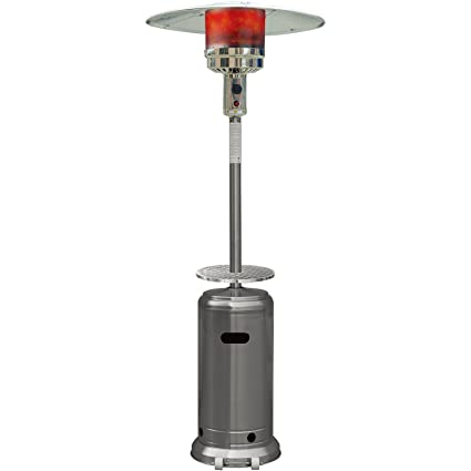 Hanover 41000 BTU Steel Umbrella Propane Patio Heater, 7u0027, Stainless Steel  Finish