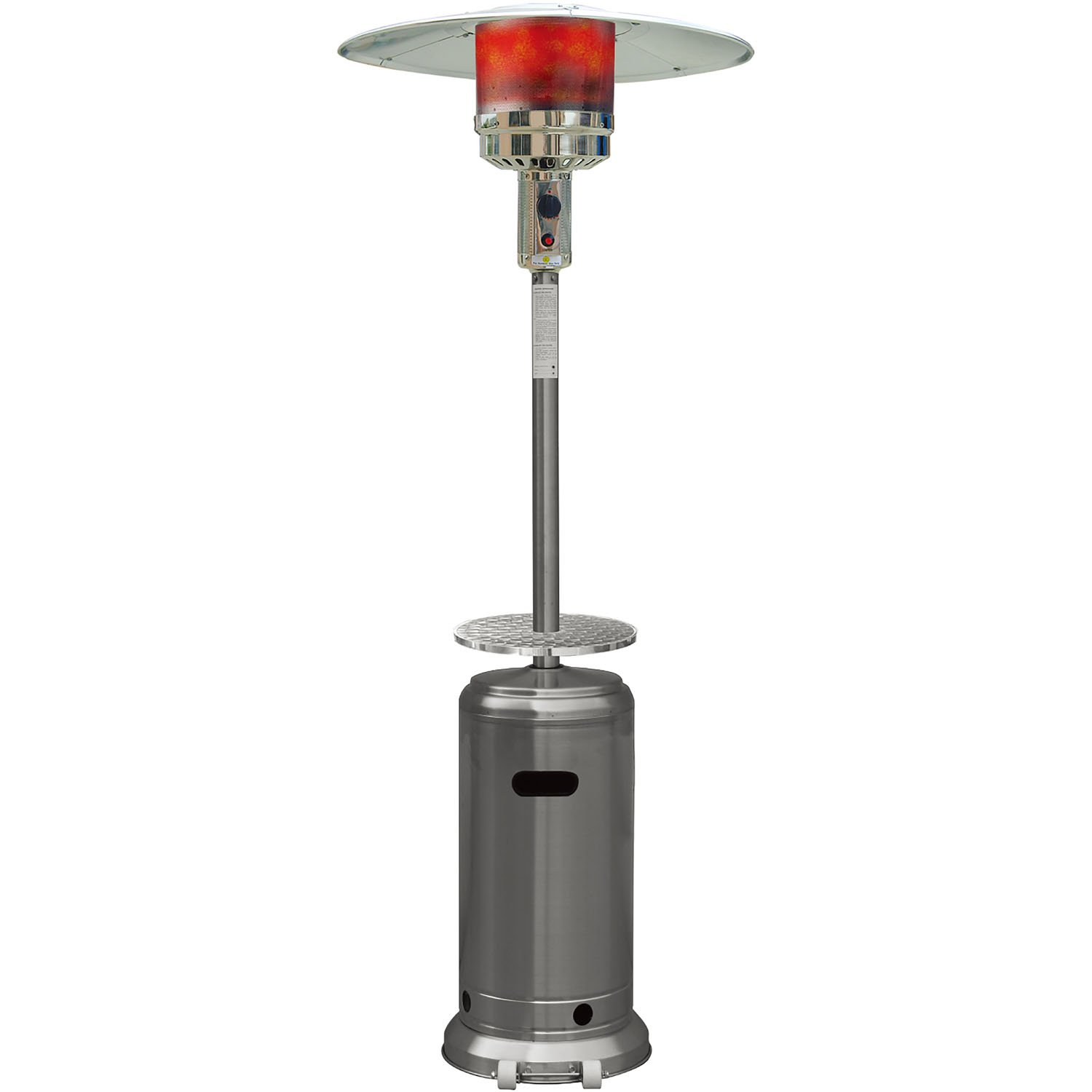 Hanover 41000 BTU Steel Umbrella Propane Patio Heater, 7', Stainless Steel Finish