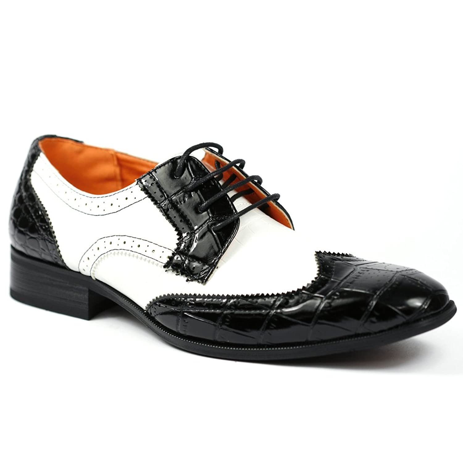 Mens Vintage Style Shoes| Retro Classic Shoes Mens Lace Up Wing Tip Proforated Oxford Dress Shoes w/ Leather Lining $39.99 AT vintagedancer.com