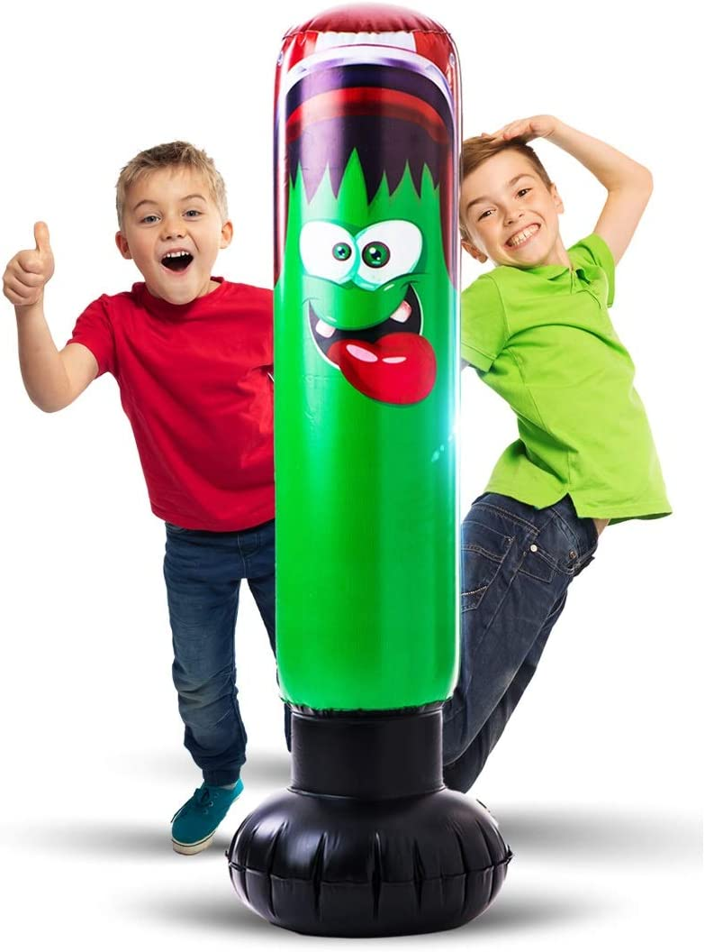 Inflatable Punching Bag for Kids - Strong Construction Freestanding Bounce Back Monster Boxing Toy / Air Bop Bag for Boys and Girls for Exercise and Stress Relief in Children Age 3-10 | 48 Inch Height