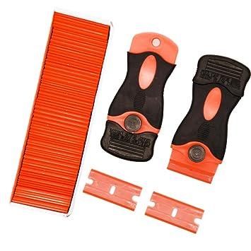 2 Pack Razor Blade Scrapers 100 Pack Plastic Replacement Blades