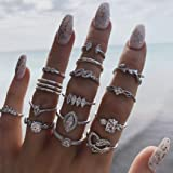 Simsly Vintage Kunckle Ring Stackable Silver Joint Nail Ring Crystal Knuckle Rings Set for Women and Girls(15PCS)