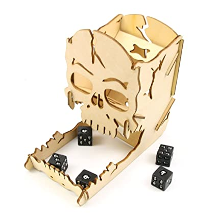 Amazon DIY Wooden Skull Dice Tower Halloween Gambling Skull Cool Making Wooden Board Games