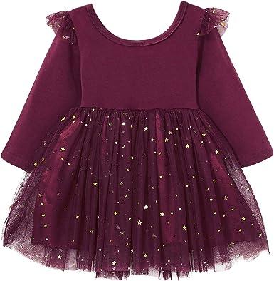 DaMohony - Vestido Tutú para Bebés Niñas de Tul Vestido Algodón Malla de Mangas Largas con Lentejuelas de Estrellas para Niña de 1-5 Años Rojo: Amazon.es: Ropa y accesorios