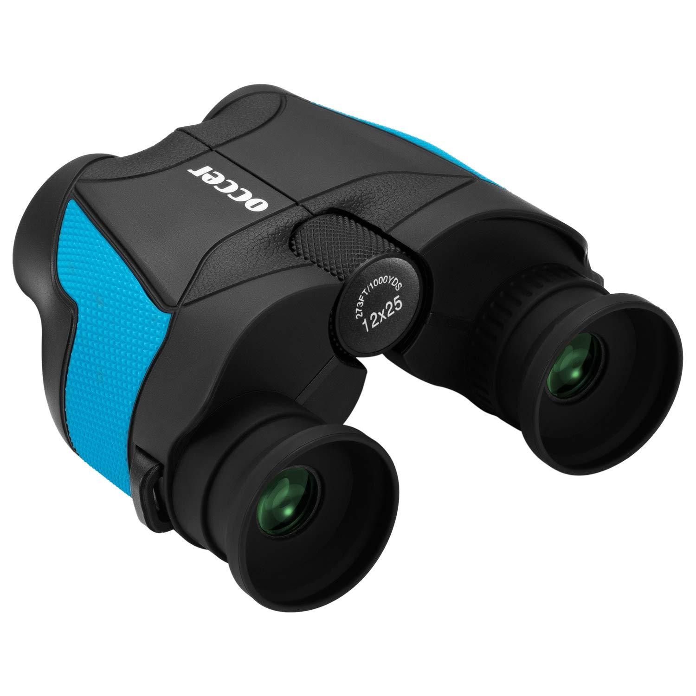 occer 12x25 Compact Binoculars for Adults Kids,Small Folding Binocular Bak4 Prism,Waterproof HD Binoculars with Weak light Night Vision Spotting Scope for Football Games,Hunting,Hiking,Wildlife,Travel by occer