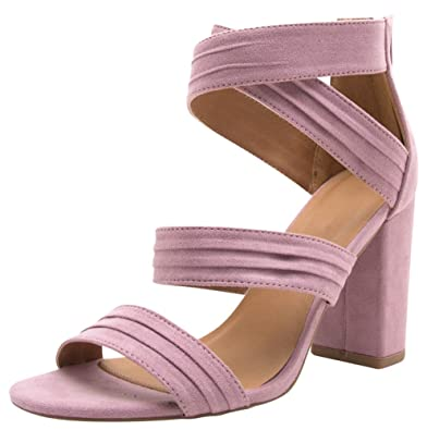 2ef6f516ae Cambridge Select Women's Open Toe Crisscross Ankle Strappy Chunky Wrapped Block  Heel Sandal Purple Size: