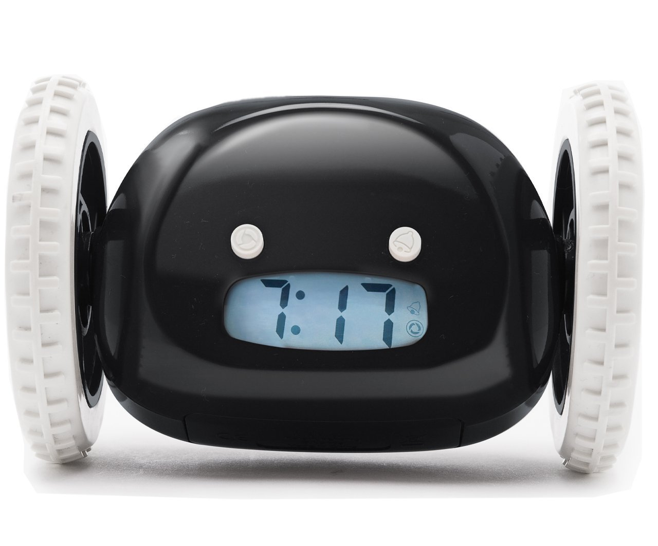 Clocky, the Original Runaway Alarm Clock on Wheels (Loud for Heavy Sleepers, Fun Rolling Moving Clock), Black