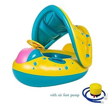 Asdomo Bebé Flotador Anillo de natación inflable con sombrilla ajustable barco de natación Juguete con Asiento