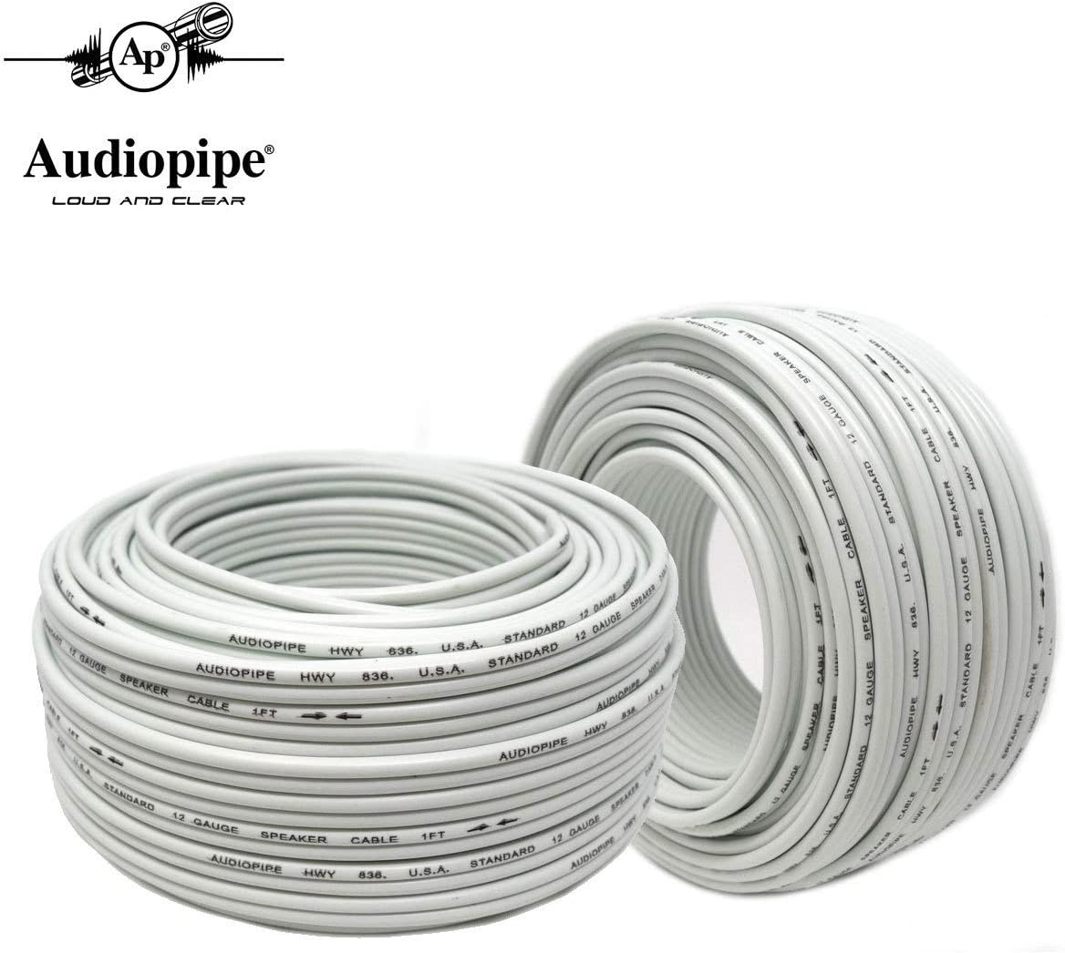 2-Pack 12 Ga 100 Ft White Speaker Wire Zip Cable Copper Clad Car Audio Home Audiopipe