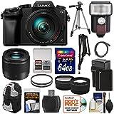 Panasonic Lumix DMC-G7 4K Wi-Fi Digital Camera & 14-140mm + 25mm f/1.7 Lens + 64GB Card + Battery + Flash + Tripod + Backpack + Tele/Wide Lens Kit