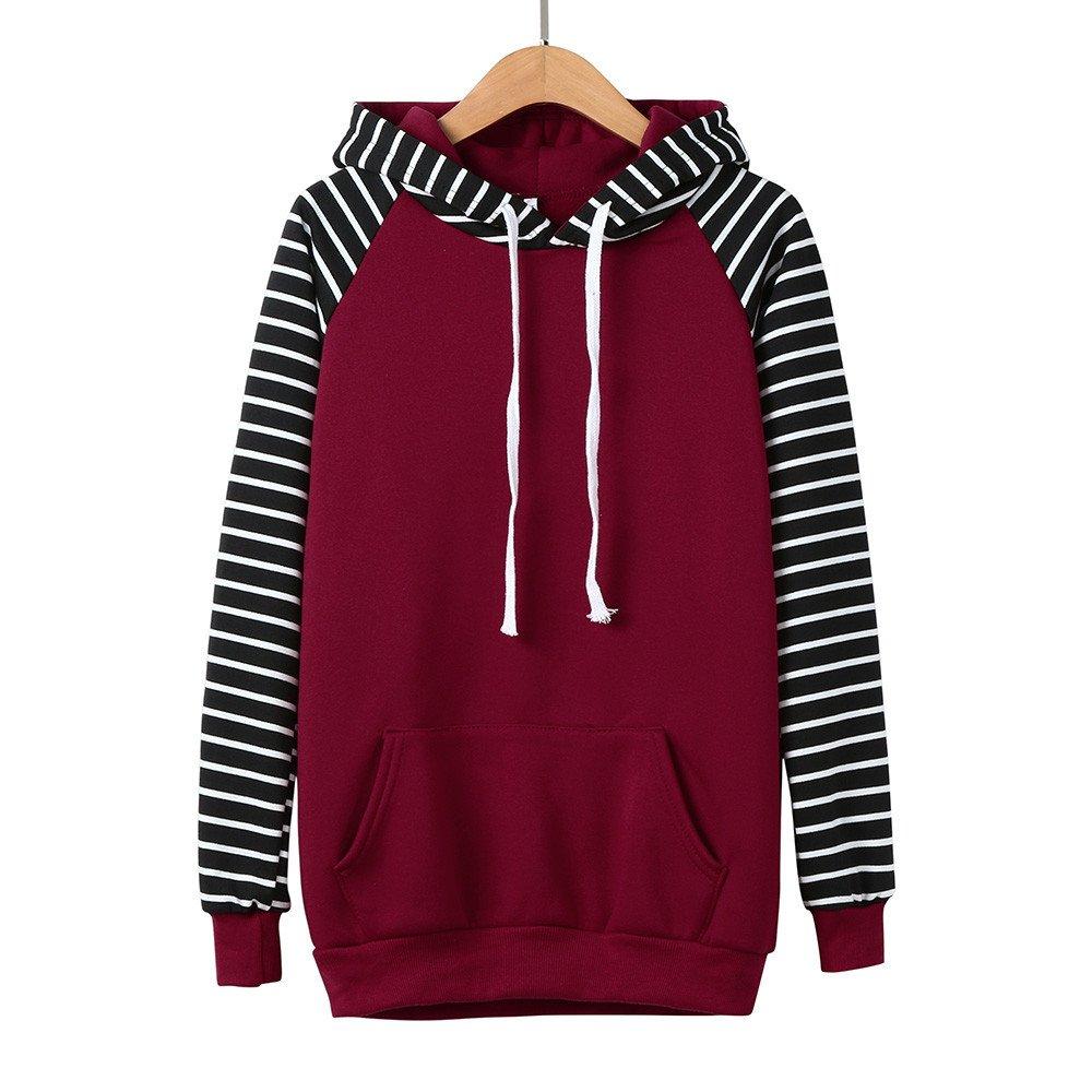 Striped Sweater Women,Kulywon Women Striped Hooded Long Sleeve Casual Print Hoodie Sweatshirt Pullover
