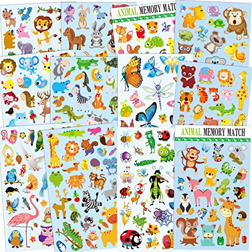 Horiechaly 12 Sheets Cute Animal Stickers for kids, 295 different animals Including Insect, birds, Butterfly, Teacher, Parent, children Craft, Party Favors, Scrapbook Making, Reward Stickers,Gift Warp -