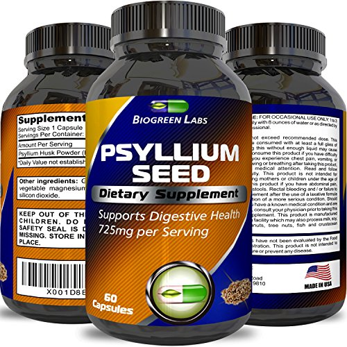 Psyllium Husk Powder Capsules - Pure Dietary Fiber Supplement - Natural Appetite Suppressant Lose Weight Fast Relieve Constipation Support Digestive System - For Men and Women by Biogreen Labs ()