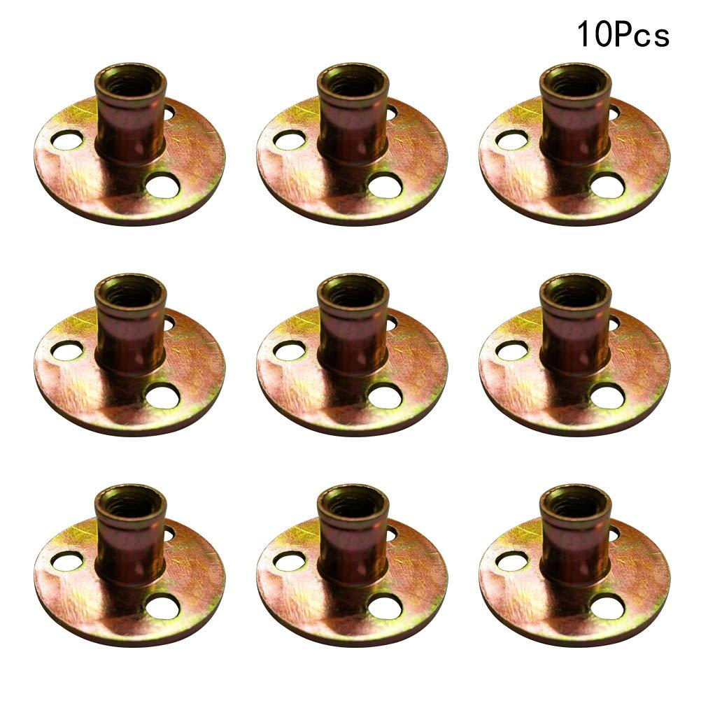 Yardwe 10 ST/ÜCKE Metall T-Muttern f/ür Klettern Halten,Gewindeeinsatzmuttern f/ür Holz Pronged T-St/ück 3 Schraubenl/öcher Nietmuttern Kit M8