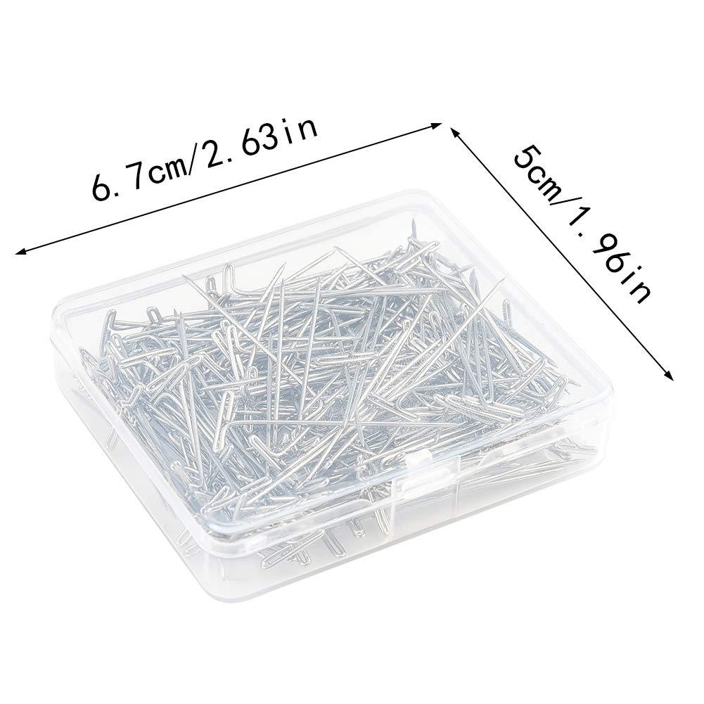 100 pezzi T-Pins in acciaio inossidabile per blocare lavorare a maglia e cucire aghi a spillo da 51 mm con stagno riutilizzabile incernierato