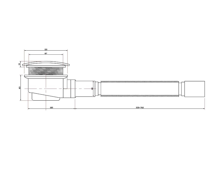 Ablaufgarnitur Ablaufloch Ablauf Geruchverschluss Siphon 90 mm