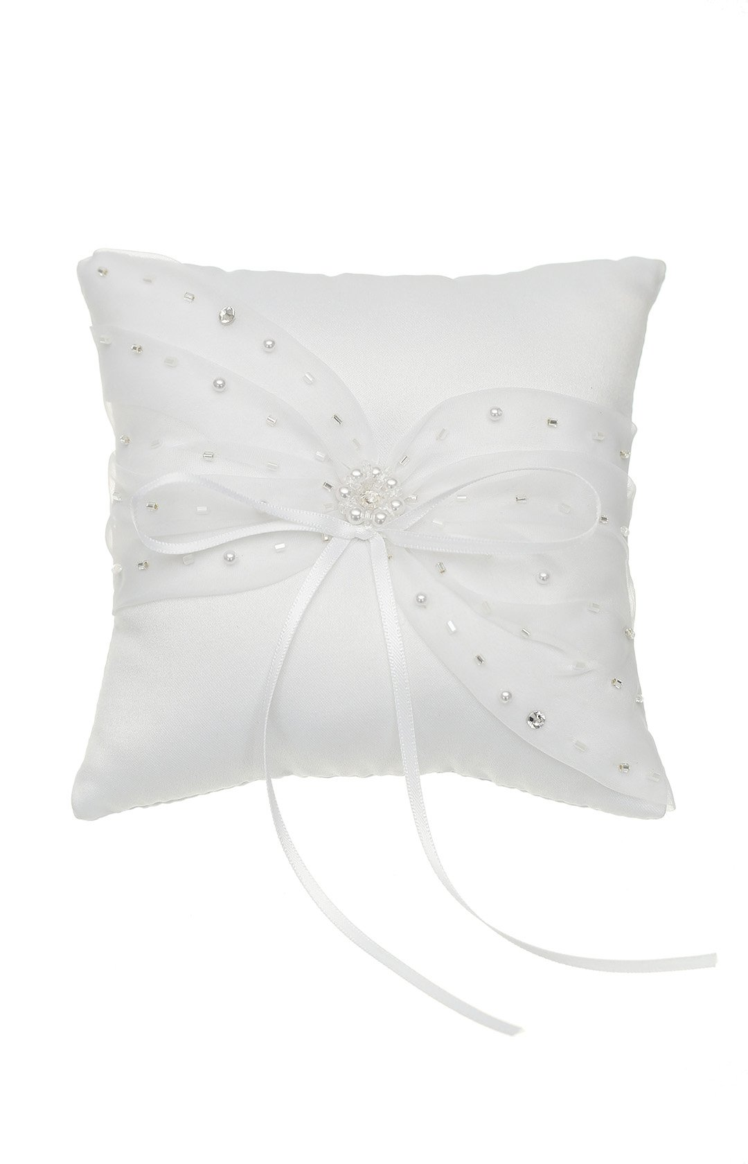 SAMKY Venus Jewelry Crystal Beads Lace Bow Wedding Ring Bearer Pillow 5 Inch x 5 Inch - White RP011W