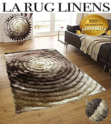 Brown Beige Gold Tan 3D Circle Illusion Design Shaggy Shag 5x7 Area Rug Two Toned Woven Tufted 3 Dimensional Viscose Yarns Thick Pile Bedroom Living Room ( SAD 281 Brown (Big Circle White Fur Rug)